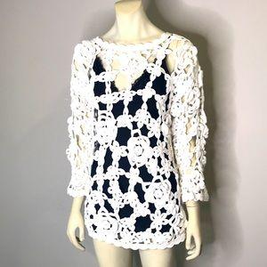 Beach/Swimsuit Cover Up White Crochet Size M/L
